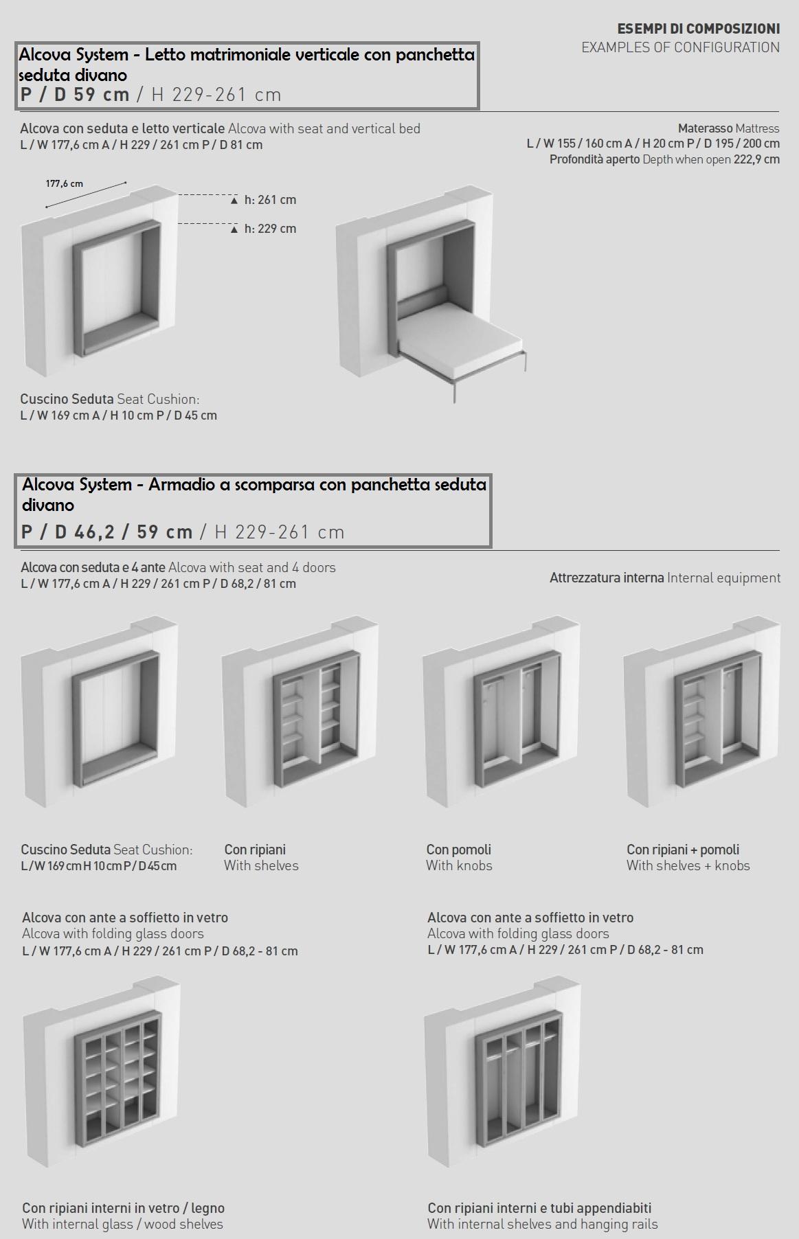 Scheda tecnica armadio letto Alcova System Tumidei