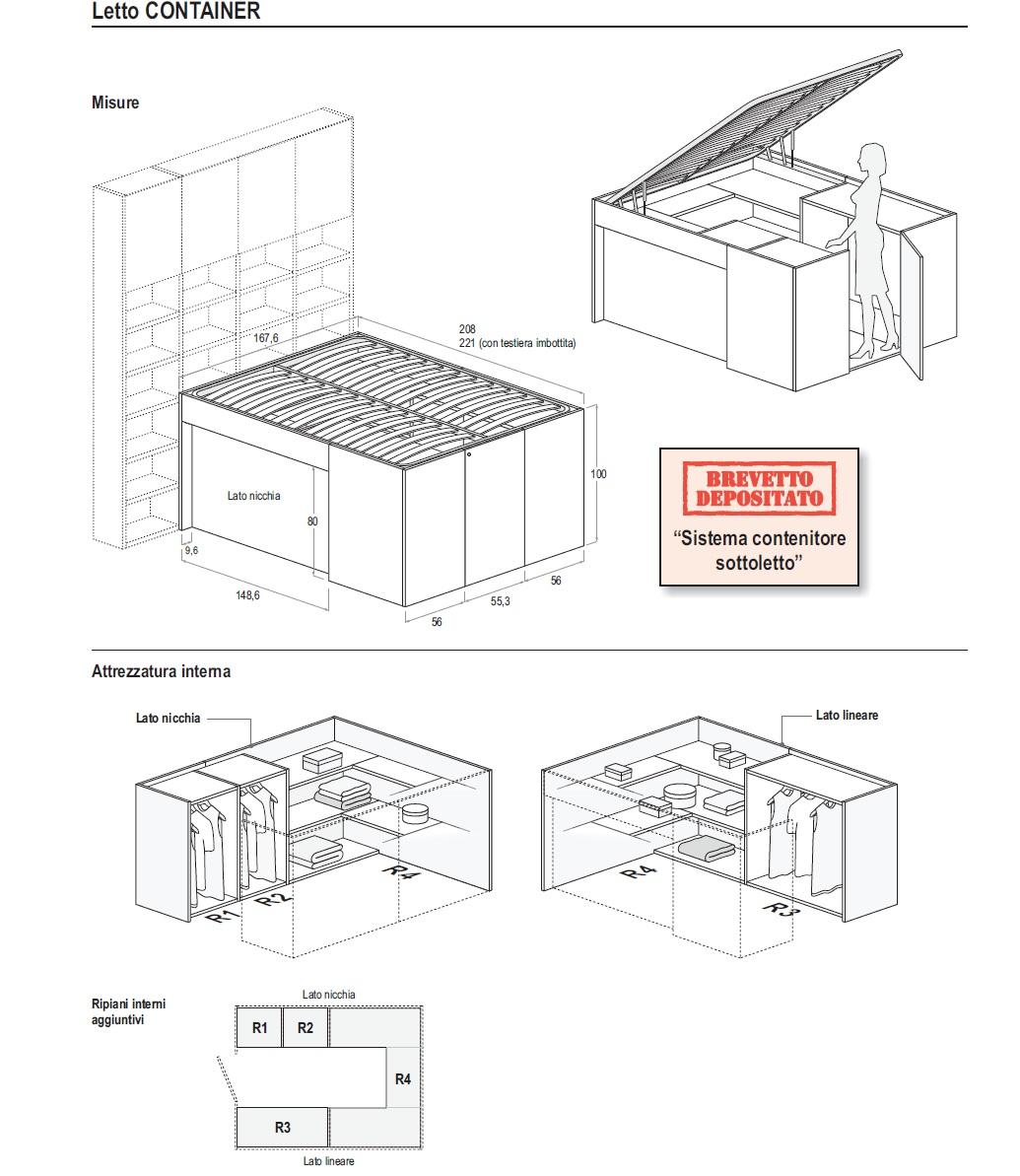 Scheda tecnica Doimo Dielle Letto Container