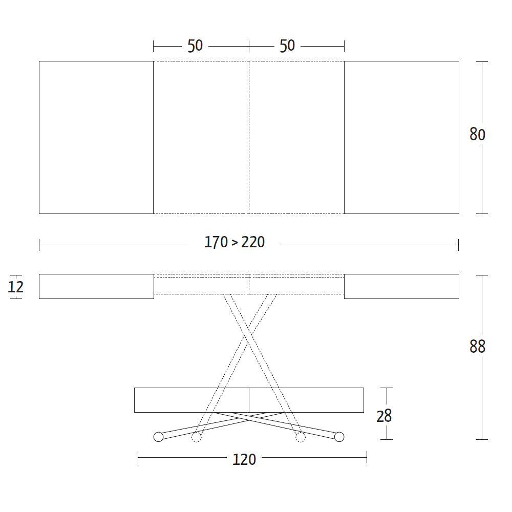 Scheda tecnica Tavolino Trasformabile ULISSE Altacom