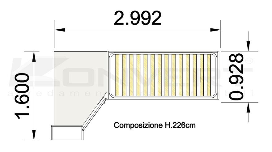 Scheda tecnica Outlet cameretta Dielle gruppo Doimo con letto container